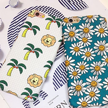 Lion Coconut Tree Chrysanthemum iPhone 7 7Plus & iPhone 6s 6 Plus Case Cover  + Free Gift Box