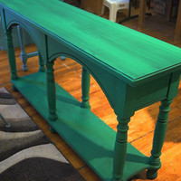 Green Table / Entry Way Table / Painted / Shabby Chic / Upcycled / Repurposed / Accent Table/ Cottage Chic / Emerald Green / Sofa Table