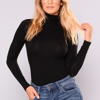 No More Rules Mock Neck Top - Black