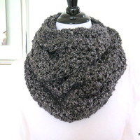 Charcoal grey cowl, cozy chunky homespun infinity scarf, gift under 40