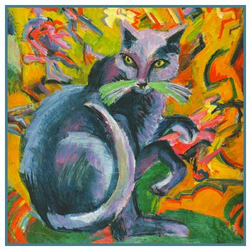 The Grey Cat on a Pillow by Ernst Ludwig Kirchner Counted Cross Stitch Pattern