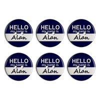 Alan Hello My Name Is Plastic Resin Button Set of 6