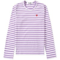 Comme des Garcons Play Women's Little Red Heart Long Sleeve Striped Tee