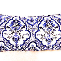 Blue and White Lumbar Pillow Cover, READY TO SHIP, Blue Pillow Cover, Michael Miller Blue and White Pillow Cover, Floral Pillow Cover