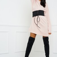 Cassidy Oversized Belted Sweatshirt - Pink