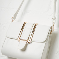 DailyLook: Janine Vegan Leather Metal Flap Crossbody Purse in White