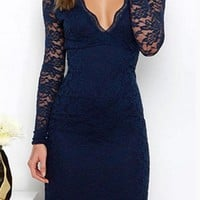 Casual Blue Patchwork Lace Plunging Neckline Acrylic Mini Dress