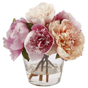 Peonies Floral Arrangement in Glass Vase