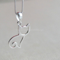 925 Sterling Silver cat necklace,simple silver necklace