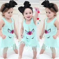 US Toddler Baby Girl Tassels Dress Sleeveless Pageant Party Dresses Kids Clothes