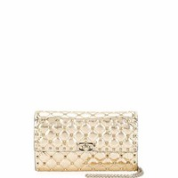 Valentino Rockstud Spike Quilted Leather Wallet on Chain