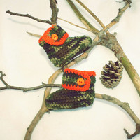 Infant Orange and Camo Baby High top Booties