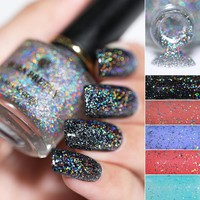 BORN PRETTY 6ml Holographic Top Coat Nail Polish Sequins Glitter Nail Polish Laser Nail Lacquer Varnish