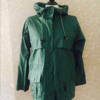 LL Bean Rain Jacket Raincoat Parka PS Green Womens Petite Small