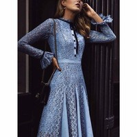 Spring Summer Lace Long Sleeved Midi Dress