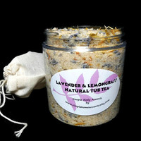 Lavender and Lemongrass Natural Tub Tea, Aromatherapy Bath Soak, Gift under 15
