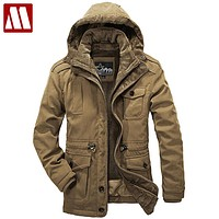 Detachable Fur Liner Winter Coat Men Hooded Jackets New 2017 Plus Size 4XL Warm Thick Coats Military Vintage Style Mens Clothing
