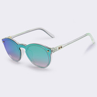 Oval Retro Reflective Mirror Sunglasses Clear Candy Color