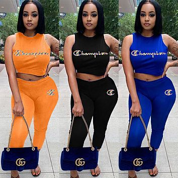 Champion Newest Popular Women Casual Print Top Pants Trousers Set Two-Piece