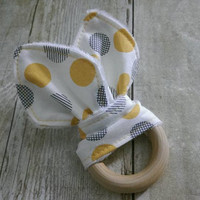 Baby wooden minky teether - gender neutral yellow dots - organic wooden ring 2.5'' fabric bunny ear teether
