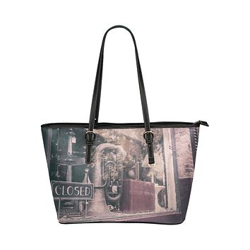 Tote Bags, Antique Shop Rustic Style Brown and Black Leather Bag