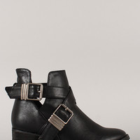 Leatherette Buckle Cut Out Ankle Bootie