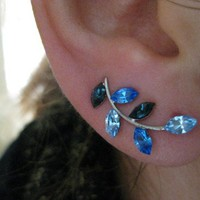 Ear Sweep Wrap Earring - with Swarovsky - Unique- The Blue Nr5