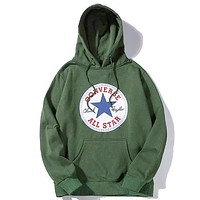 Converse 2019 new classic print sports long sleeve hooded sweater Green