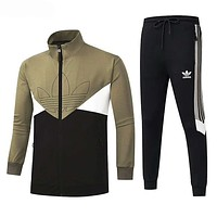 Adidas Popular Men Women Print Shirt Sweater Pants Set Two-Piece Sportswear Green