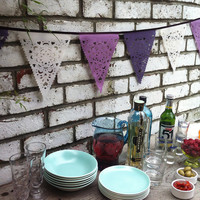 purple, lilac and cream party bunting, wedding garland banner fabric room decor