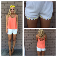 White Daisy Trim Shorts