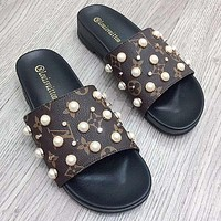 Louis Vuitton Slippers LV Shoes Preal Rivet Fashion Sandals Coffee LV Print