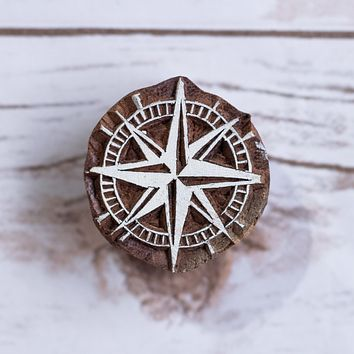 Compass Pattern Hand Carved Wood Block Print Stamp