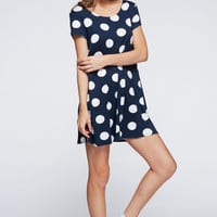 Navy & White Polka Dotted Dress w/ Red & White Sriped Bow on Back