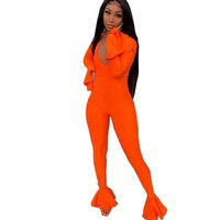 Women V-Neck Long Ruffle Sleeve Orange/Yellow Fashion Jumpsuit
