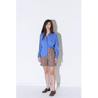 Royal Blue Satin Button Through Blouse / M L
