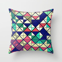 Colorful grid Throw Pillow by Tony Vazquez