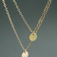 Aniani necklace - double layered 14k gold filled disc necklace, delicate simple gold necklace, modern layering necklace, maui, hawaii