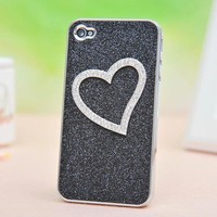 Shiny Heart-shaped Relief Frosted Hard Cover Case for Iphone 4/4s/5  from Fancy Mall