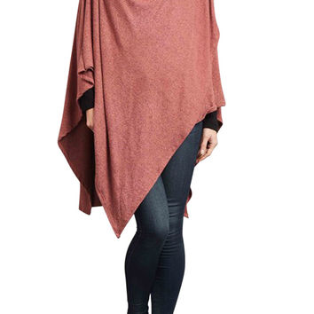 Women's 3/4 Sleeve Cowl Neck Draped Poncho Top
