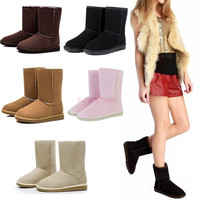 Winter Women Lady Warm Faux Suede Fur Lined Mid-calf Snow Flat Boots Shoes Women's shoes = 1652914436
