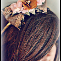 FLOWER HALO, matilda jane, headband, well dressed, m2m, wdw, pink and gold, boho, shabby, boutique, eleanor, baby, girl, womens, adult