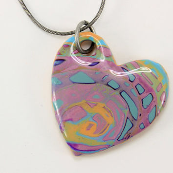 Just Gorgeous Mokume gane Heart Necklace, Heart Jewelry, Heart Pendant, Blue and Purple, Etsy Jewelry, Womens jewelry, Unique Necklace, Gift