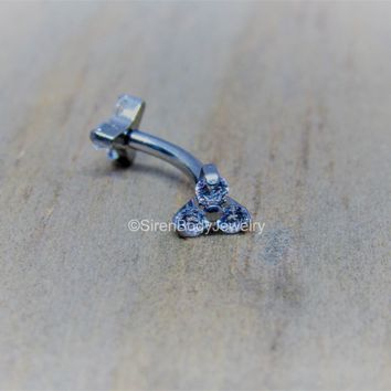 "Titanium rook cluster curved barbell 16g internally threaded 5/16"" hypoallergenic vertical labret bar"