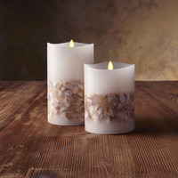 "Luminara Flameless Candles PILLAR CANDLE WITH SEASHELLS - 4"" x 5"" or 7"" - White"