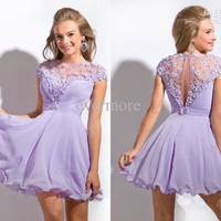 Promotion Light Purple Jewel A-line Chiffon Hand-made Flower Short Homecoming Dresses Cheap New Prom Dresses Cusom-made Cocktail Gown Party