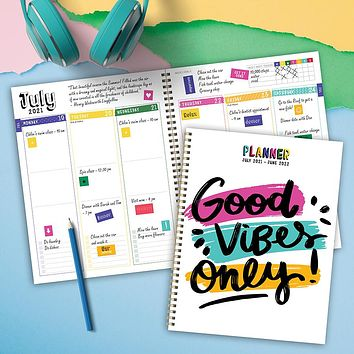 July 2021-June 2022 Good Vibes Only Large Daily Weekly Monthly Planner + Coordinating Planning Stickers