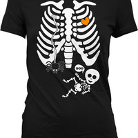 Pregnant Skeleton Shirt Pregnancy Halloween Costumes Maternity Skeleton T Shirt Unisex Halloween Pregnancy Reveal Shirt Ladies TShirt MD-555