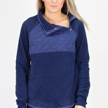 Quilted Snap Fleece Pullover {Navy} - Size LARGE