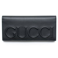 DCCKUG3 Gucci XL Logo Black Leather Wallet Signature Leather Italy New